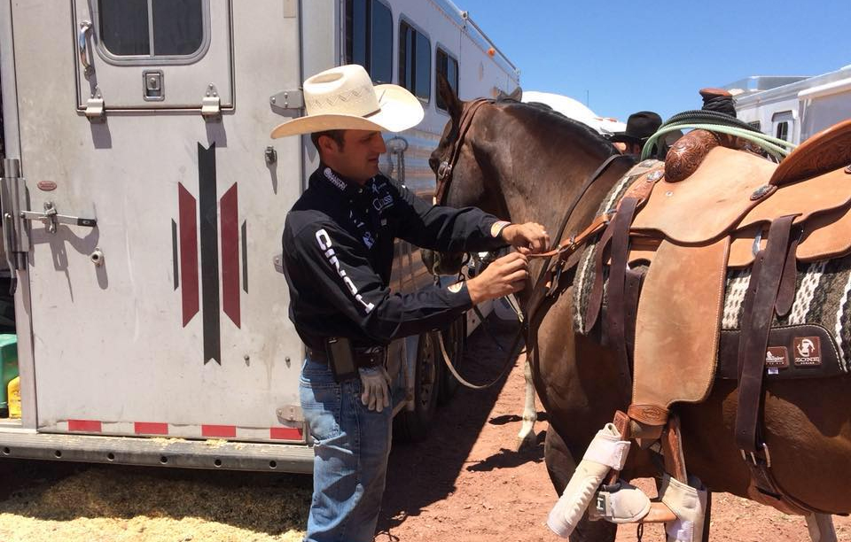 Shay Carroll of La Junta, Colorado, roped the team roping lead with his header, Levi Simpson, with a 4.5-second run Thursday in the opening performance of the Cattlemen's Days PRCA Rodeo. (PHOTO FROM SHAY CARROLL'S FACEBOOK PAGE)