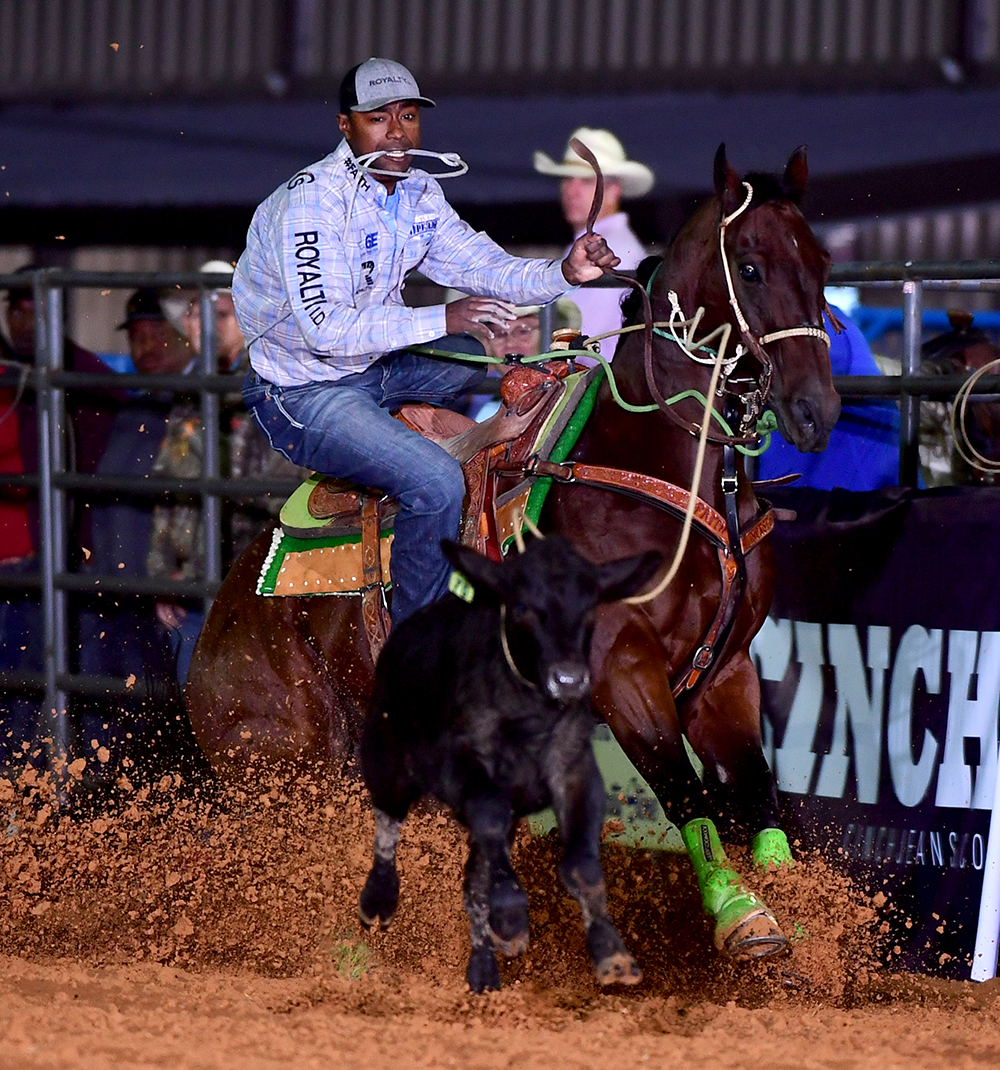 For the second time in its seven-year existence, county resident and NFR qualifier Cory Solomon won the Tie-Down Roping Eliminator Challenge at the Waller County Fair and Rodeo. (PHOTO BY JAMES PHIFER)