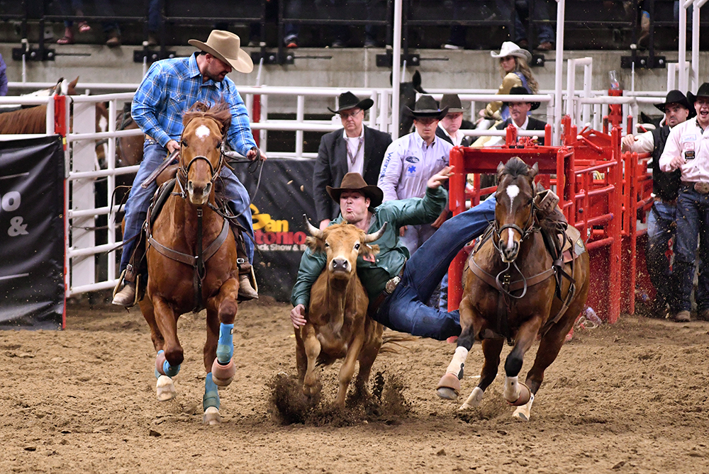 Jacob Edler, an Iowa farm boy turned cowboy and professional steer wrestler, has qualified for the National Finals Rodeo for the first time and will utilize his years years on the farm and the work ethic he's gained through that in his efforts to chase the world championship. (PHOTO BY ROBBY FREEMAN)