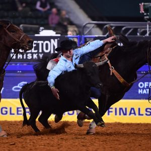 Bridger Anderson closed out his first National Finals Rodeo by finishing sixth in the average race. (PHOTO BY JAMES PHIFER)