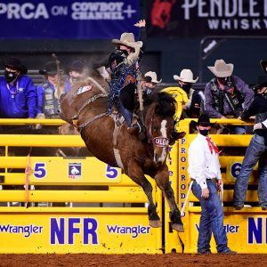 Wyatt Casper rides Calgary Stampede's Xena Warrior for 88 points to win Friday's ninth round of the National Finals Rodeo and make the race for the world title a dead heat. (PHOTO BY JAMES PHIFER)