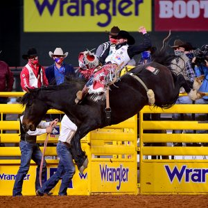 Mason Clement rides Sankey's Prairie Rose for 80.5 points to place in Wednesday's seventh round of the National Finals Rodeo. (PHOTO BY JAMES PHIFER)