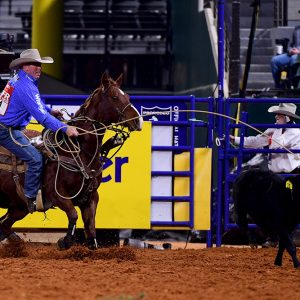 Ryan Jarrett earned another go-round paycheck during Friday's ninth round of the National Finals Rodeo. (PHOTO BY JAMES PHIFER)