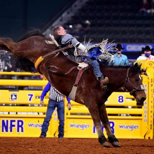 Orin Larsen rides Beutler & Son's Redigo for 85 points to tie for third place in Thursday's eighth round of the National Finals Rodeo. (PHOTO BY JAMES PHIFER)