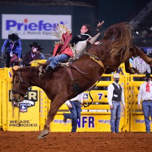 Tim O'Connell rides Stace Smith's Mr. Harry for 85.5 points to finish second in Thursday's eighth round of the National Finals Rodeo. (PHOTO BY JAMES PHIFER)